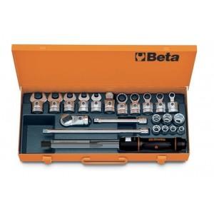 """Pokrętło dynamometryczne """"klikowe"""" 668/10 z akcesoriami 22 elementy w pudełku metalowym..."""