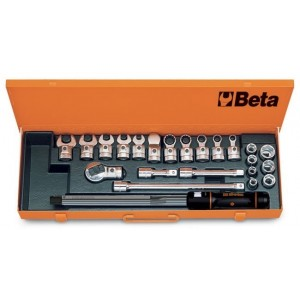 """Pokrętło dynamometryczne """"klikowe"""" 668n/20 z akcesoriami 23 elementy w pudełku..."""