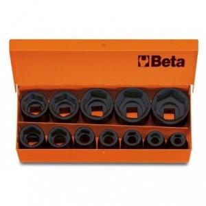 Komplet nasadek udarowych sześciokątnych 720 10-32mm 12 sztuk w kasecie metalowej Beta...