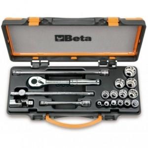 """Zestaw nasadek 910as z akcesoriami 1/4""""-7/8"""" 18 elementów w pudełku metalowym Beta..."""