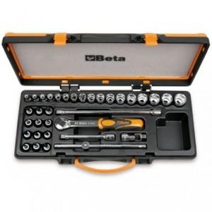Zestaw nasadek 910b i profilowych z akcesoriami 6-22mm 34 elementy w pudełku metalowym...