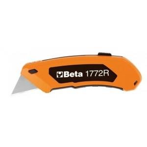 Nóż z ostrzem trapezowym chowanym w komplecie 5 ostrzy Beta 1772R 125mm