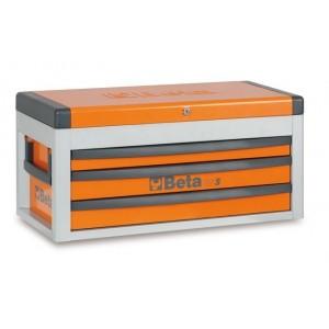 Skrzynia narzędziowa z trzema szufladami z blachy stalowej lakierowana pomarańczowa...