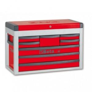 Skrzynia narzędziowa z ośmioma szufladami z blachy stalowej lakierowana czerwona pusta...