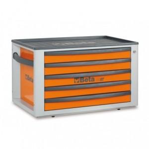 Skrzynia narzędziowa z pięcioma szufladami z blachy stalowej lakierowana pomarańczowa...