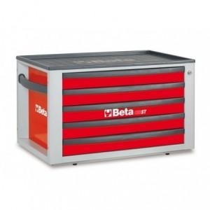 Skrzynia narzędziowa z pięcioma szufladami z blachy stalowej lakierowana czerwona pusta...