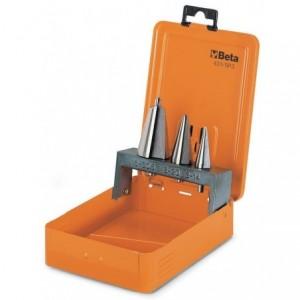 Komplet wierteł stożkowych bezstopniowych 424 hss 3 - 30mm 3 sztuki w metalowym pudełku...