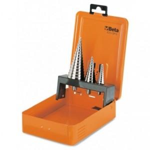 Komplet wierteł stożkowych stopniowych 425 hss 4 - 30mm 3 sztuki w metalowym pudełku...