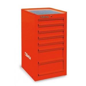 Szafka narzędziowa boczna z siedmioma szufkadami z blachy stalowej lakierowana czerwona...