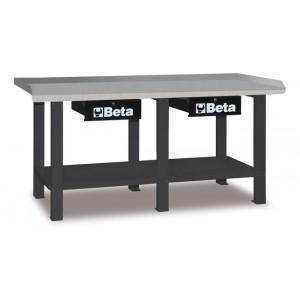 Stół warsztatowy z dwiema szufladami i półką blat pokryty blachą stalową ocynkowaną...
