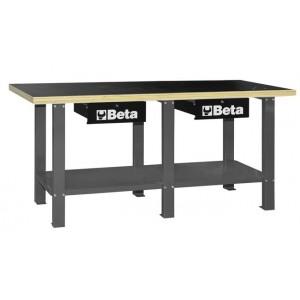 Stół warsztatowy z dwiema szufladami i półką blat ze sklejki wielowarstwowej szary Beta...