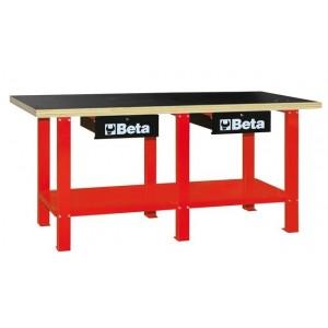 Stół warsztatowy z dwiema szufladami i półką blat ze sklejki wielowarstwowej czerwony...
