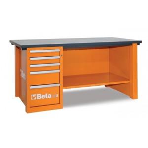 Stół warsztatowy z szafką z pięcioma szufladami blat z drewna klejonego warstwowo pusty...
