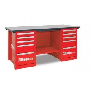 Stół warsztatowy z dwiema szafkami dziesięć szuflad blat z drewna klejonego warstwowo...