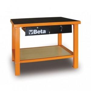 Stół warsztatowy z dwiema szufladami i półką blat pokryty gumą pusty Beta 5800/C58MG...