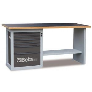 Stół warsztatowy z szafką z sześcioma szufladami blat z drewna klejonego warstwowo...