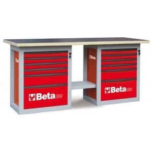 Stół warsztatowy z dwiema szafkami dwanaście szuflad blat z drewna klejonego warstwowo...