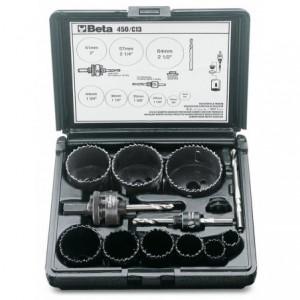 Zestaw pił otworowych 450 z akcesoriami 13 elementów 19-64mm w pudełku z tworzywa...