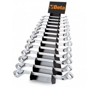 Komplet kluczy oczkowych dwustronnych odsadzonych 90 6-32mm 13 sztuk na stojaku...