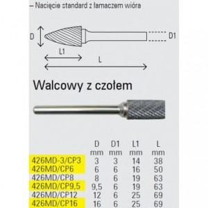 Pilnik obrotowy z węglika spiekanego kształt walcowy 3x14mm trzpień 3mm nacięcie...