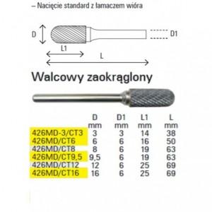 Pilnik obrotowy z węglika spiekanego kształt walcowy zaokrąglony 3x14mm trzpień 3mm...