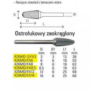 Pilnik obrotowy z węglika spiekanego kształt ostrołukowy zaokrąglony 3x13mm trzpień 3mm...