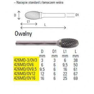 Pilnik obrotowy z węglika spiekanego kształt owalny 3x6mm trzpień 3mm nacięcie standard...