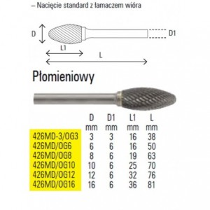 Pilnik obrotowy z węglika spiekanego kształt płomieniowy 16x36mm trzpień 6mm nacięcie...