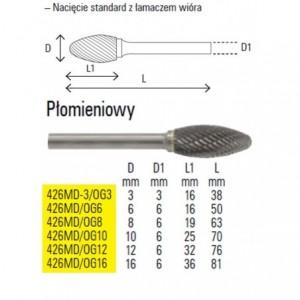Pilnik obrotowy z węglika spiekanego kształt płomieniowy 6x16mm trzpień 6mm nacięcie...