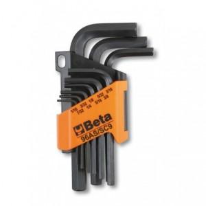 """Komplet kluczy trzpieniowych kątowych sześciokątnych calowych 96as 1/16 - 3/8"""" 9 sztuk..."""