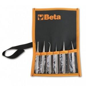 Zestaw pęset kwasoodpornych niemagnetycznych 6 sztuk w pokrowcu Beta 999/B6