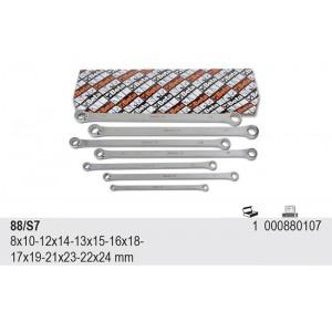 Komplet kluczy oczkowych dwustronnych prostych długich 88 8-24mm 7 sztuk w kartonie...