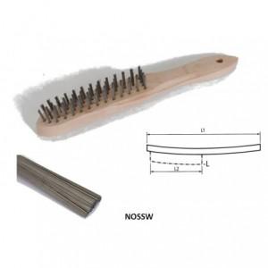 Szczotka ręczna drewniana, drut prosty ze stali węglowej, br001-hcb nossw 290x140x25mm,...