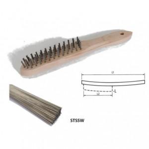 Szczotka ręczna drewniana, drut prosty ze stali nierdzewnej, br001-hcb stssw...