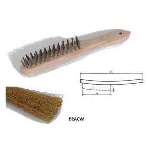 Szczotka ręczna drewniana, drut karbowany mosiężny, br001-hcb bracw 290x140x25mm, drut...