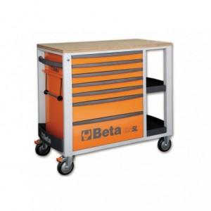Wózek warsztatowy, narzędziowy BETA z 7 szufladami, pomarańczowy (2400/C24SLO)