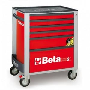 Wózek warsztatowy, narzędziowy BETA z 6 szufladami, czerwony (2400/C24SA/6-R)