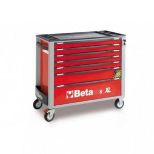 Wózek warsztatowy, narzędziowy BETA z 7 szufladami, czerwony (2400/C24SAXL/7-R)