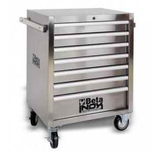 Wózek warsztatowy, narzędziowy BETA z 7 szufladami, INOX (2400/C04TSS-7)