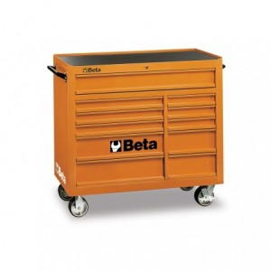 Wózek warsztatowy, narzędziowy BETA z 11 szufladami, pomarańczowy (3800/C38O)