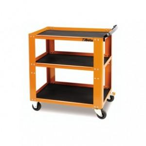 Wózek warsztatowy, narzędziowy BETA, z trzema półkami, pomarańczowy (5100/C51O)