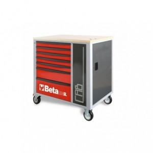 Wózek warsztatowy, narzędziowy BETA z 7 szufladami i szafką, czerwony (2400/C24SL-CABR)