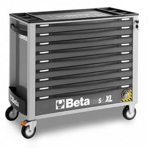Wózek narzędziowy z dziewięcioma szufladami szeroki z blachy stalowej lakierowany szary...