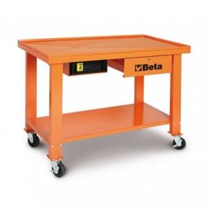 Stół warsztatowy na kołach do skrzyń biegów i przekładni z pojemnikiem na płyny z...