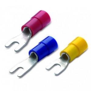 Końcówka kablowa izolowana widełkowa 1.5/4 pvc czerwona zakres 0.25-1.5 mm2 op. 100...