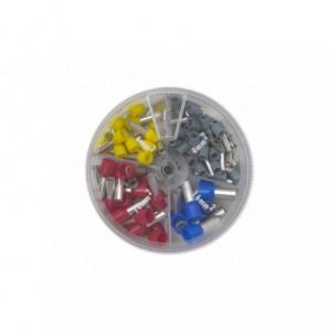 Zestaw końcówek tulejkowych izolowanych w plastikowym pudełku (50x4/10 szare 20x6/12...