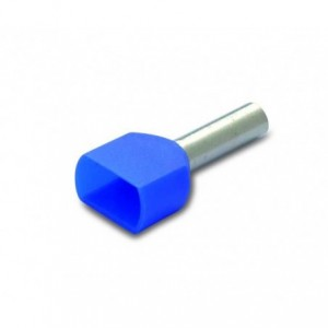 Końcówka tulejkowa izolowana podwójna 2x2.5/10 2.5 mm2 niebieska kolor din 46228/4 op....