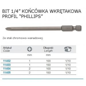 Wkrętak krzyżowy profil phillips do pobijania, model 1243ph/2, 6x100mm