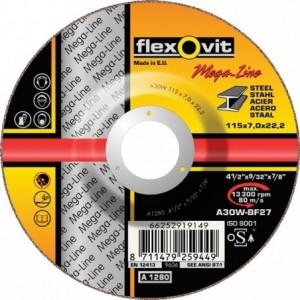 Tarcza do szlifowania stali węglowych a30w-180x7.0x22.2-t27 flexovit-mega-line Beta...