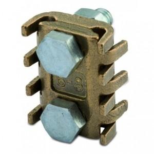 Zacisk uniwersalny mosiężny odgałęźny dwuśrubowy 95-150 mm2 śr14-16 2x10 opakowanie 20...